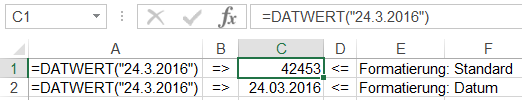 Funktion DATWERT